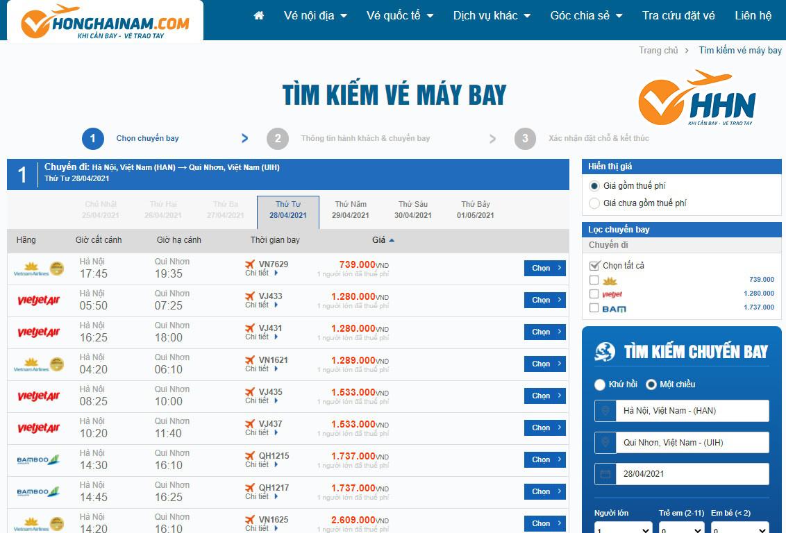 Giá vé máy bay từ Hà Nội đi Quy Nhơn
